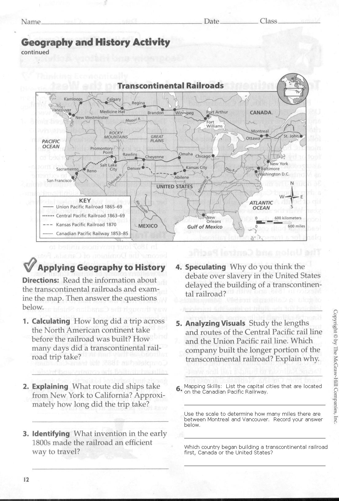 Pictures Transcontinental Railroad Worksheet - Studioxcess